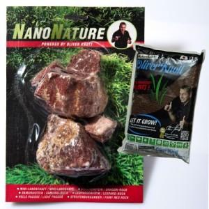 NanoNature Streifenburgunder Set - 5 Steine + 3 Liter NatureSoil braun