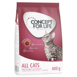 Probierpaket: 400 g Concept for Life + 6 x 70 g Cosma Nature - Indoor Cats + Cosma Nature