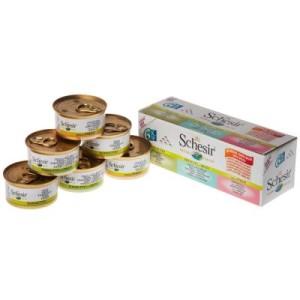 Probierpaket Schesir 6 x 70 g/75 g/85 g - Mix X - Thunfisch & Fleisch Natural mit Reis 5 Sorten (6 x 85 g)
