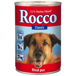 Rocco Classic 6 x 400 g + 6 Barkoo Kauknochen à 7 cm - Rind mit Seelachs