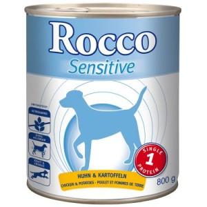 Rocco Sensitive 6 x 400 g/800 g + 250 g Rocco Chings - Huhn & Kartoffel 6 x 800 g