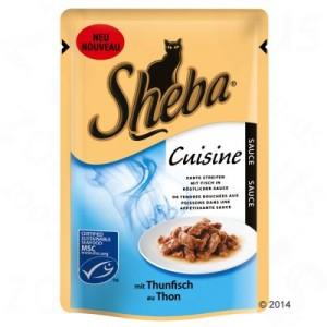 Sheba Cuisine Frischebeutel 6 x 85 g - Zarte Streifen mit Lachs in Soße