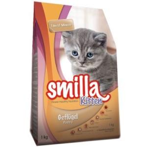 Smilla Kitten Starter-Paket + Katzenbett - 1 kg Trockenfutter + 6 x 200 g Nassfutter mit Kalb