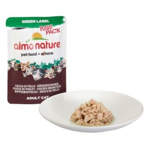 Sparpaket Almo Nature Green Label Raw 24 x 55 g - Mix: je 12 x Hühnerschenkel/Hühnerbrust