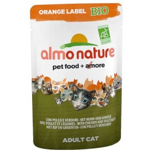 Sparpaket Almo Nature Orange Label Bio Pouches 24 x 70 g - Rind & Huhn