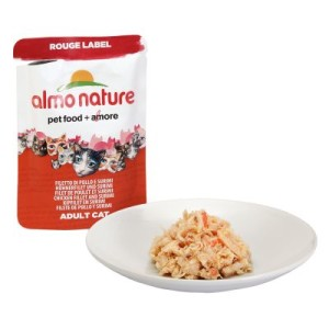 Sparpaket Almo Nature Rouge Label Filets 24 x 55 g - Hühnerfilet und Käse