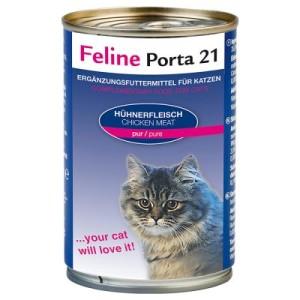 Sparpaket Feline Porta 21 12 x 400 g - Hühnerfleisch mit Aloe