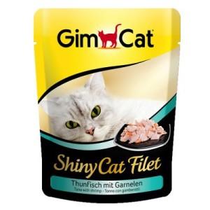 Sparpaket GimCat ShinyCat Filet Pouch 12 x 70 g - Thunfisch & Garnelen