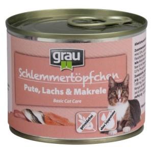 Sparpaket Grau Schlemmertöpfchen 12 x 200 g - Getreidefreier Mix (6 Sorten)