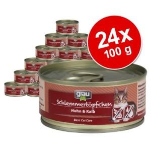 Sparpaket Grau Schlemmertöpfchen 24 x 100 g - getreidefrei: Huhn & Kalb