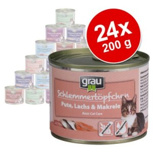 Sparpaket Grau Schlemmertöpfchen 24 x 200 g - Getreidefrei Huhn & Kalb