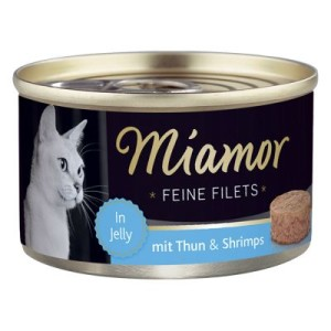 Sparpaket Miamor Feine Filets 24 x 100 g - Heller Thunfisch & Shrimps in Jelly