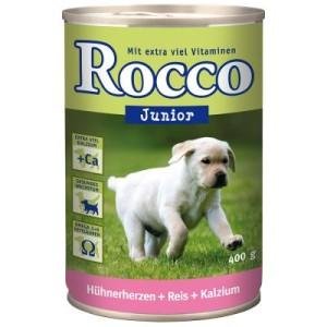 Sparpaket Rocco Junior 24 x 400 g - Hühnerherzen + Reis + Kalzium