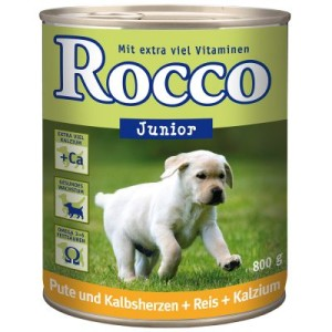 Sparpaket Rocco Junior 24 x 800 g - Geflügel und Wild + Reis + Kalzium