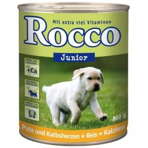 Sparpaket Rocco Junior 24 x 800 g - Hühnerherzen + Reis + Kalzium
