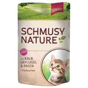 Sparpaket Schmusy Nature im Frischebeutel 24 x 100 g - Kitten: Lachs