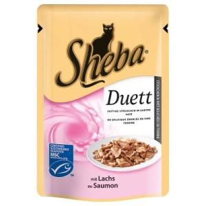 Sparpaket Sheba Frischebeutel 24 x 85 g - Zarte Streifen mit Lachs in Soße