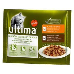 Sparpaket Ultima Cat 24 x 85 g - Hairball (Huhn & Pute)
