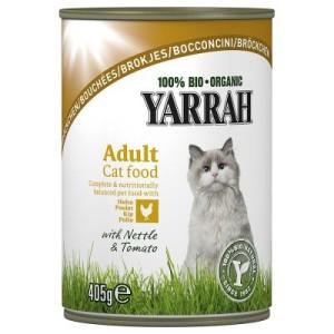 Sparpaket Yarrah Bio Bröckchen 24 x 405 g - Huhn & Truthahn mit Brennnesseln & Tomaten