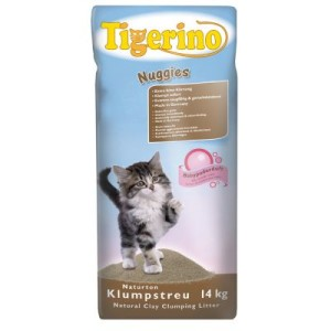 Tigerino Nuggies Katzenstreu - Babypuderduft - Doppelpack 2 x 14 kg