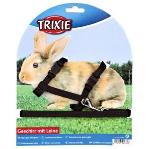 Trixie Geschirr- und Leinenset für Kaninchen - schwarz