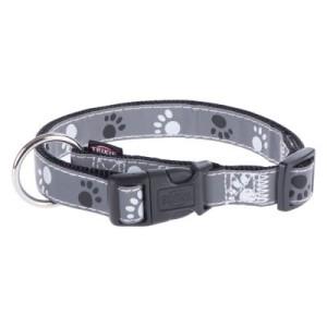 Trixie Halsband Pfoten Silver Reflect - Gr. S-M: 30 - 45 cm Halsumfang