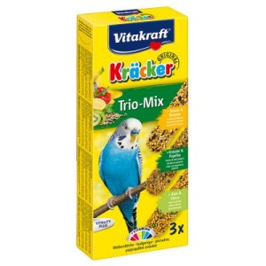 Vitakraft Kräcker Wellensittiche Trio-Mix - 2 x 3 Sticks: Sesam/Kräuter/Kiwi