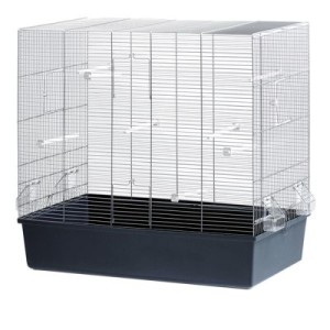 Vogelkäfig Rose - grau/blau: L 80 x B 45 x H 75 cm