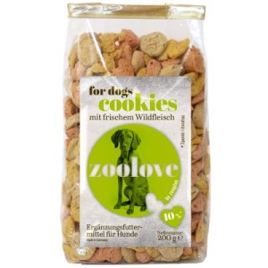 Vorratspaket: zoolove Hundekekse 5 x 200 g - gemischtes Paket: 3 x Huhn und 2 x Wild
