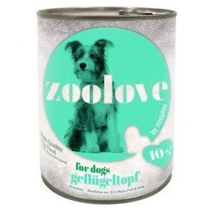 Vorratspaket: zoolove Hundenahrung 24 x 800 g - Trio di Carne