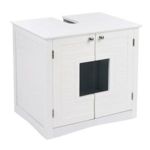 Waschbeckenunterschrank für Katzentoiletten - weiß (L 61