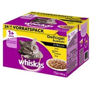Whiskas 1+ Frischebeutel 24 x 100 g - 1+ Geflügelauswahl in Sauce