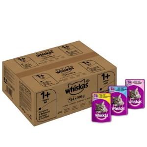 Whiskas 1+ Frischebeutel 84 x 100 g - 1+ Fisch-& Geflügelauswahl in Gelee