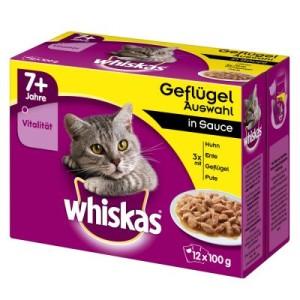 Whiskas 7+ Senior Frischebeutel 12 x 100 g - 7+ Geflügelauswahl in Sauce