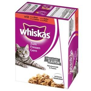 Whiskas Herzhaft Kauen - im Frischebeutel 12 x 85 g - mit Huhn