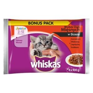 Whiskas Junior Frischebeutel 4 x 100 g - Fleischhappen in Sauce