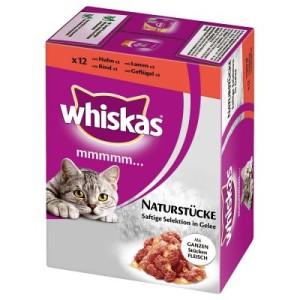 Whiskas Mmmmm...Naturstücke im Frischebeutel 12 x 85 g - Fleisch: Köstliche Menüs