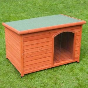 Woody Flachdach-Hundehütte mit Kunststofftür gratis - Größe S: B 85 x T 57 x H 58 cm